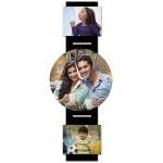 Personalized wall clock printed photo embedded in wooden base-verticle