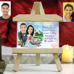 Personalized wedding couple Caricature Easel Frame