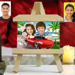 Personalized wedding couple in Red Car Caricature Easel Frame