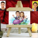 Personalized wedding couple in Roller Coaster Caricature Easel Frame