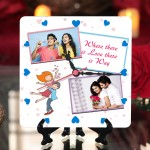 Personalized where there is love square table clock
