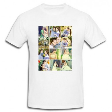 Personalized White Cotton T-Shirt with 12 pic collage print