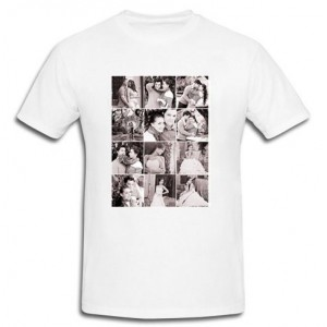 Personalized White Cotton T-Shirt with 12 pic grayscale collage print