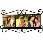 "Personalized wrought Iron Frame with three pcs 4.25"" photo tiles"