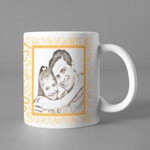Photo Sketch Classic photo mug print with Best DAD