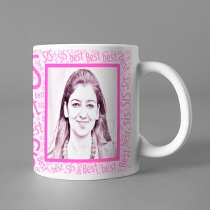 Photo Sketch Classic photo mug print with Best Sis