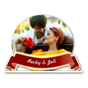 Personalized circular acrylic photo stand - small