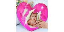 Personalized heart shaped Sequin Cushion Magic Reveal Photo Pink Heart Sequin