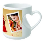 Premium white heart handle mug with customized photo message