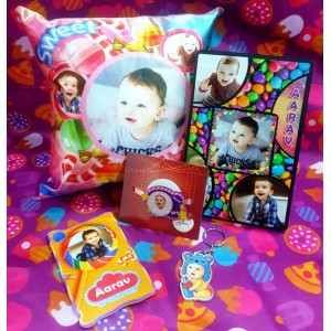 Rakhi combo 5 in 1 personalized photo gift candy theme