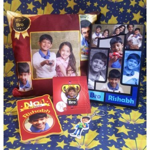 Rakhi combo 5 in 1 personalized photo gift No. 1 brother theme