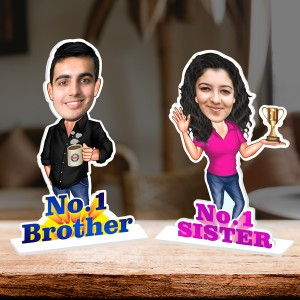 Personalized No.1 Brother and Sister Caricature Photo Stand In