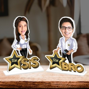 Personalized Star Brother and Sister Caricature Photo Stand In