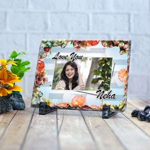 Rectangle stone plaque Photo with Flower Border design (12 x 18) cm Design 21