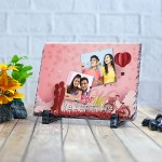 Rectangle stone plaque Photo with For My Valentine (12 x 18) cm Design 19