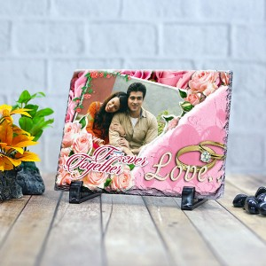 Rectangle stone plaque Photo with Love ring (12 x 18) cm Design 14