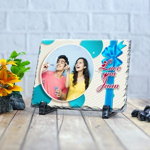 Rectangle stone plaque Photo with Love you jaan (12 x 18) cm Design 15