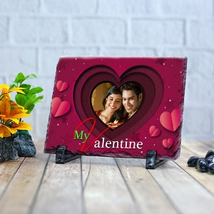 Rectangle stone plaque Photo with My Valentine (12 x 18) cm Design 19
