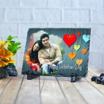 Rectangle stone plaque Photo with Valentine design (12 x 18) cm Design