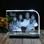 Rectangular shaped crystal with engraved photo inside - 175x125x12 (mm) with Slim White Light Base
