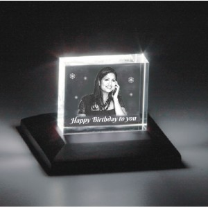 Rectangular shaped crystal with engraved photo inside - 60 X 50 X 20 (mm)