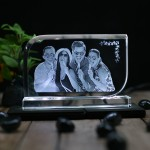 Rectangular shaped crystal with engraved photo inside - 70x120x12 (mm) with Slim White Light Base