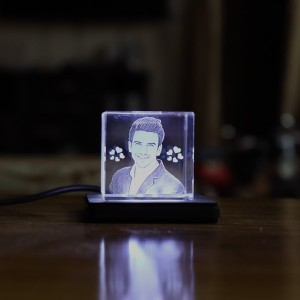 Rectangular shaped Small crystal with engraved photo inside - 40 X 40 X 40 (mm) with Slim White Light Base