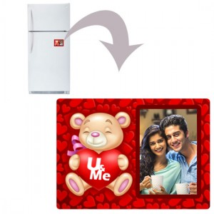 Rectangular U & me teddy plastic personalized fridge magnet
