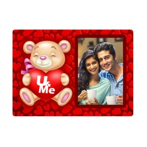 Rectangular U & me teddy plastic personalized fridge magnet  backview