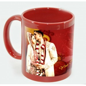 Red colored glossy personalized photo mug