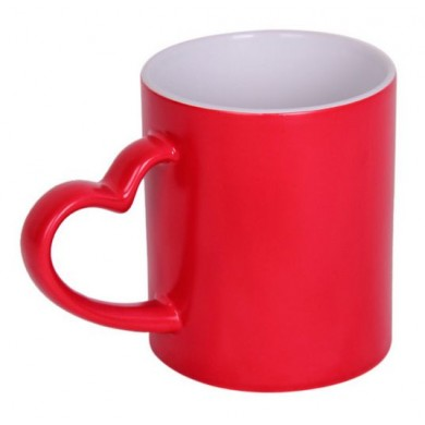 Red Heart Handled Magic Mug Personalized with photo