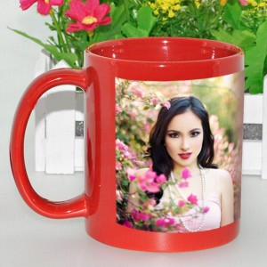 Red radium glow in dark personalized photo mug