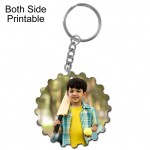 Round shape with cog designed both side printable plastic keyring