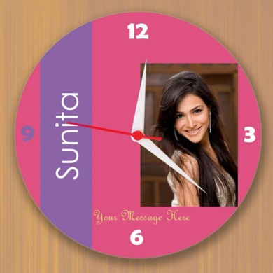 Round wall Clock with custom photo and message