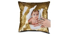 Personalized Sequin Cushion Magic Reveal Photo Golden