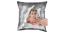 Personalized Sequin Cushion Magic Reveal Photo Silver