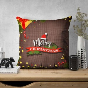 Personalized Christmas Satin Cushion with Photo (16x16) backview