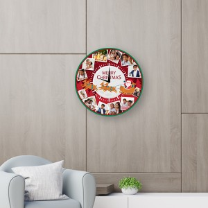 Personalized Christmas dial round wall clock Size 11.5x11.5 Inch backview