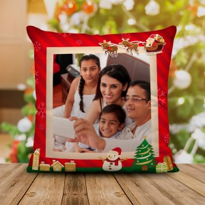 Personalized Christmas Satin Cushion with Both Side Photo (16x16) backview