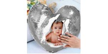 Personalized heart shaped Sequin Cushion Magic Reveal Photo Silver Heart Sequin