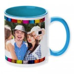 Sky Blue dual tone personalized photo mug