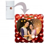 Square personalized fridge magnet with heart design