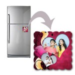 Square personalized fridge magnet with love design