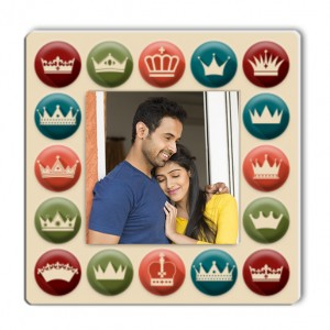 Square plastic personalized fridge magnet  backview
