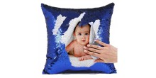 Personalized Sequin Cushion Magic Reveal Photo Blue