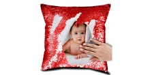 Personalized Sequin Cushion Magic Reveal Photo Red