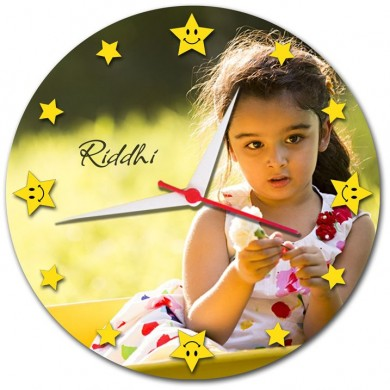 Star dial round wall clock with Personalized  photo