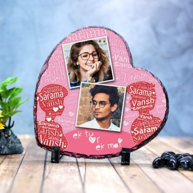Heart shaped stone plaque Photo with Name Art (18 x 18) cm Design 02