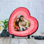 Heart shaped stone plaque Photo with Name Art (18 x 18) cm Design 03
