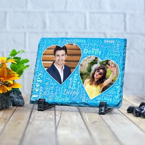 Rectangle stone plaque Photo with Name Art (12 x 18) cm Design 07
